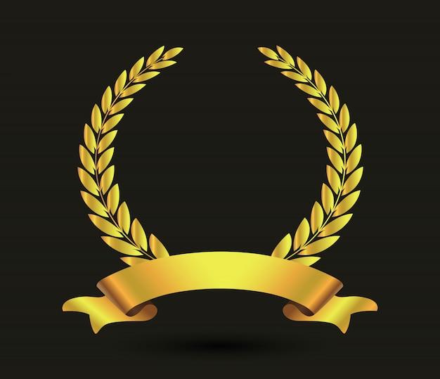 Couronne de laurier doré avec ruban