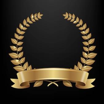 Couronne de laurier isolé couronne de laurier noir fond noir fond illustration vectorielle