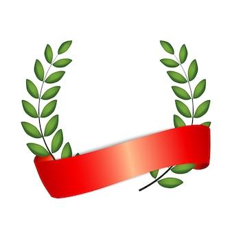Couronne de laurier avec ruban rouge isolé sur fond blanc.