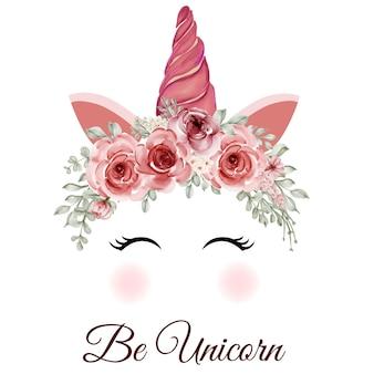 Couronne de licorne aquarelle avec fleurs roses