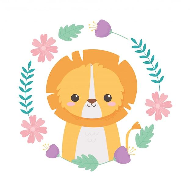 Couronne de lion mignon avec illustration vectorielle de fleurs dessin animé animaux