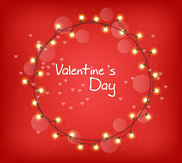 Couronne de lumières rougeoyante valentine day