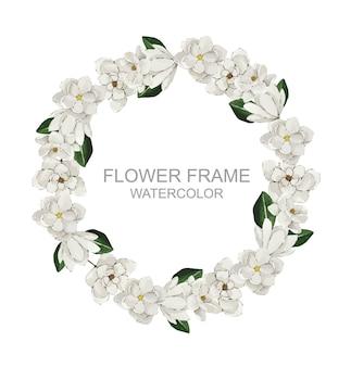Couronne de magnolia blanche ronde aquarelle