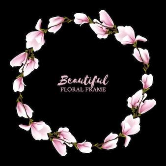 Couronne de magnolia, cadre cercle floral