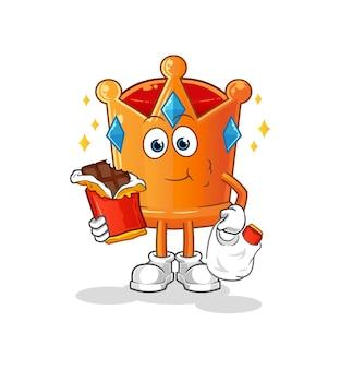 La couronne mange la mascotte de chocolat. dessin animé