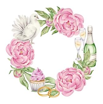 Couronne de mariage avec des fleurs et des anneaux