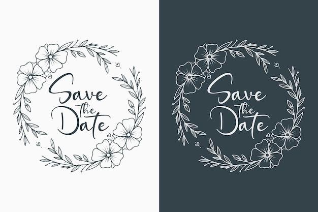 Couronne de mariage floral dessiné à la main et monogramme de mariage