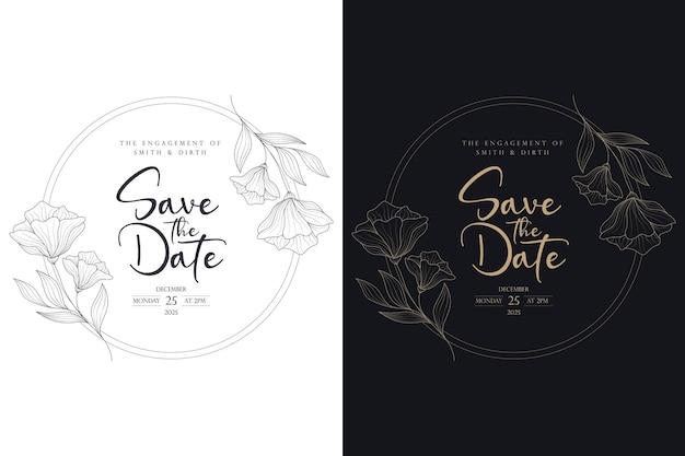 Couronne de mariage floral de luxe et cadre de badge de mariage dans le style de cercle