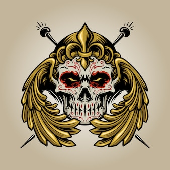 Couronne mexicaine crâne de sucre muertos avec des illustrations de logo d'ailes