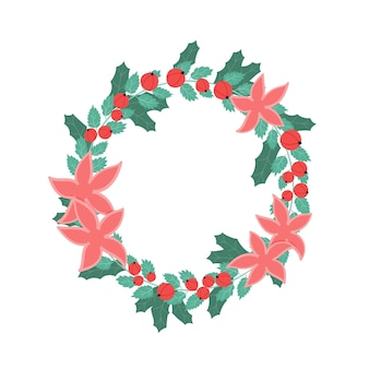 Couronne de noël avec des baies rouges, des feuilles vertes et des fleurs décoration festive du nouvel an