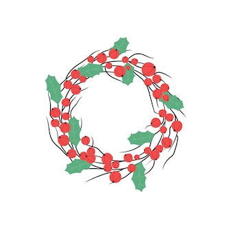 Couronne de noël avec des branches de baies rouges et des feuilles de houx décoration festive du nouvel an
