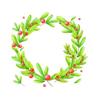 Couronne de noël et du nouvel an d'épinette, de branches, de baies illustration aquarelle