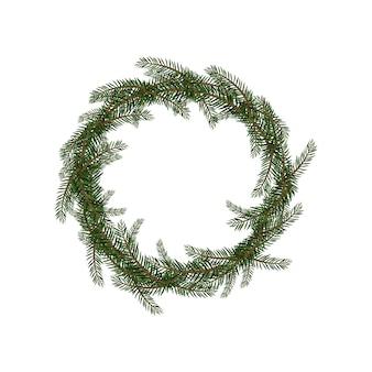 Couronne de noël faite de branches de sapin. décoration festive pour le nouvel an et les vacances d'hiver