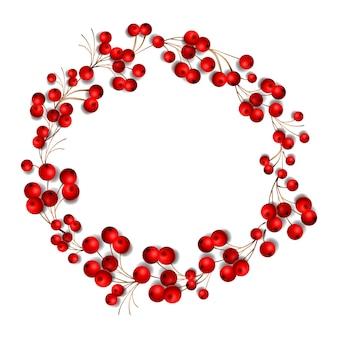 Couronne de noël faite de fruits rouges, isolé sur fond blanc, illustration.