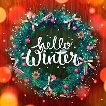 Couronne de noël avec des guirlandes bonjour hiver lettrage illustration vectorielle