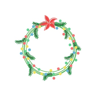 Couronne de noël avec des lumières de branches et des guirlandes illustration vectorielle de décoration festive