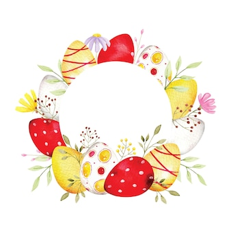 Couronne d'oeufs de pâques de style aquarelle avec fleur gratuite