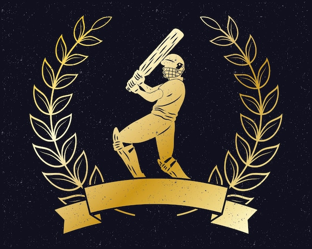 Couronne d'or de cricket avec ruban