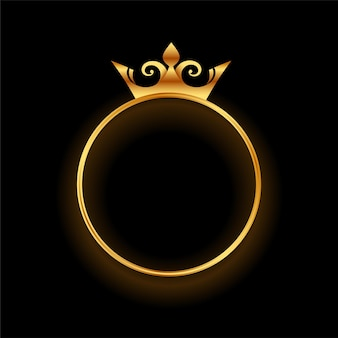 Couronne d'or avec fond de cadre anneau circulaire