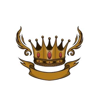Couronne d'or avec illustration vectorielle de ruban