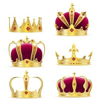 Couronne D'or Réaliste Pour Roi Ou Reine Vecteur Premium
