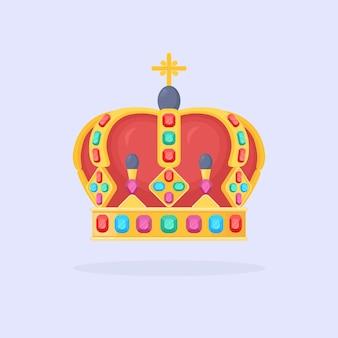 Couronne d'or royale isolée sur bleu