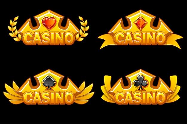 Couronne d'or avec symboles de poker. icônes de récompenses de casino