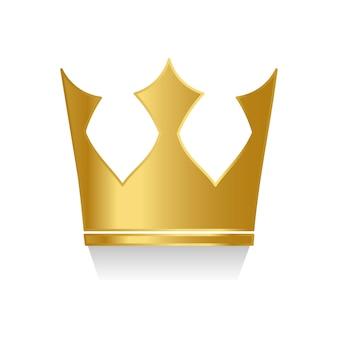 Couronne d'or sur le vecteur de fond blanc