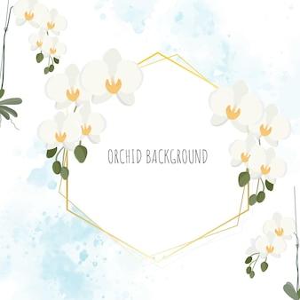 Couronne d'orchidée phalaenopsis blanche style plat minimal avec cadre doré sur aquarelle bleue