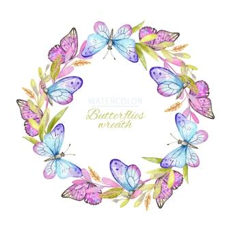 Couronne de papillons aquarelle