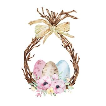 Couronne de pâques aquarelle. branche d'arbre de printemps, bouquet d'anémones et oeufs de pâques.