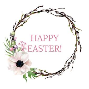 Couronne de pâques avec des fleurs, illustration aquarelle dessinée à la main
