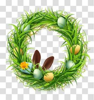 Couronne de pâques d'herbe verte avec des oeufs et des oreilles de lapin