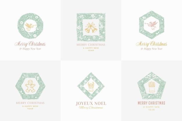 La couronne de pin de croquis de nouvel an et de noël signe des bannières ou un modèle de logo