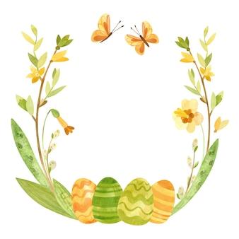 Couronne de printemps avec oeufs de pâques, saule, plumes et fleurs illustration