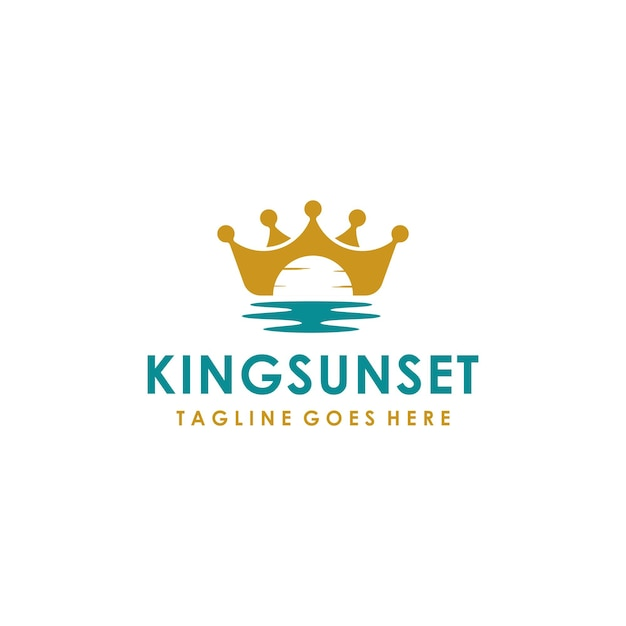 Couronne de roi avec la conception de logo de symbole de coucher du soleil de l'océan