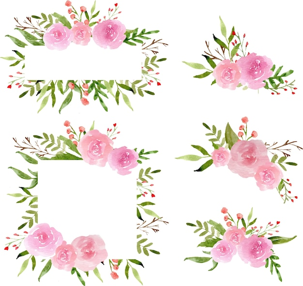 Couronne de rose aquarelle et arrangement