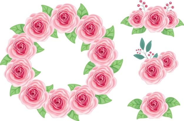 Couronne de rose rose beau vecteur avec des éléments