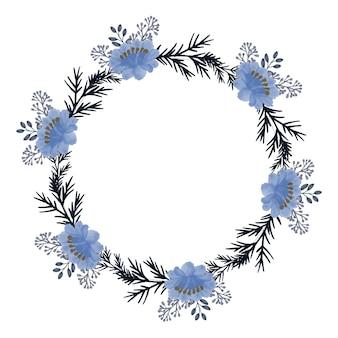 Couronne de roses bleues floral