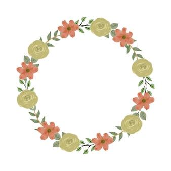 Couronne de roses jaunes et de fleurs oranges pour carte de voeux et de mariage