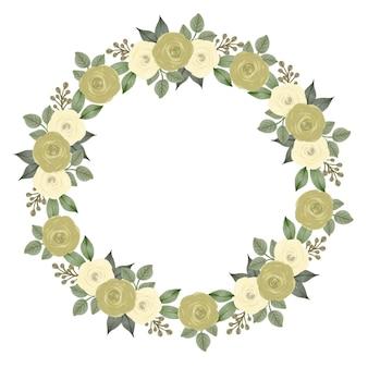 Couronne de roses jaunes pour carte de voeux et de mariage