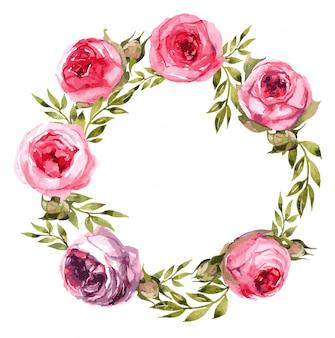 Couronne de roses pivoine