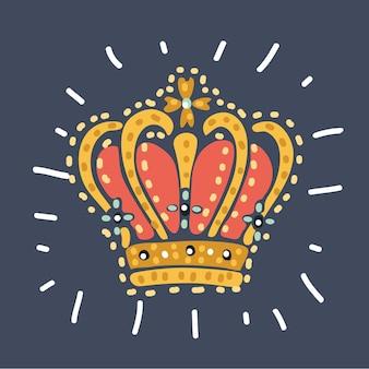 Couronne royale en or pour la reine princesse roi