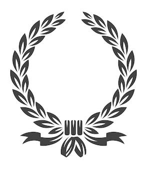 Couronne avec des rubans. sceau de couronnes de paix de feuille de récompense
