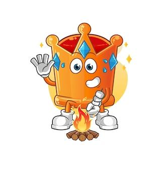 La couronne torréfie des guimauves. mascotte de dessin animé