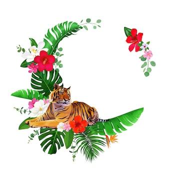 Couronne tropicale avec tigre du bengale et fleurs d'hibiscus