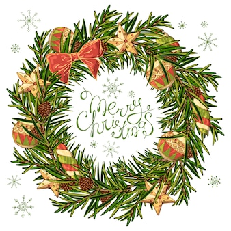 Couronne de vecteur d'un arbre de noël avec des décorations de nouvel an.