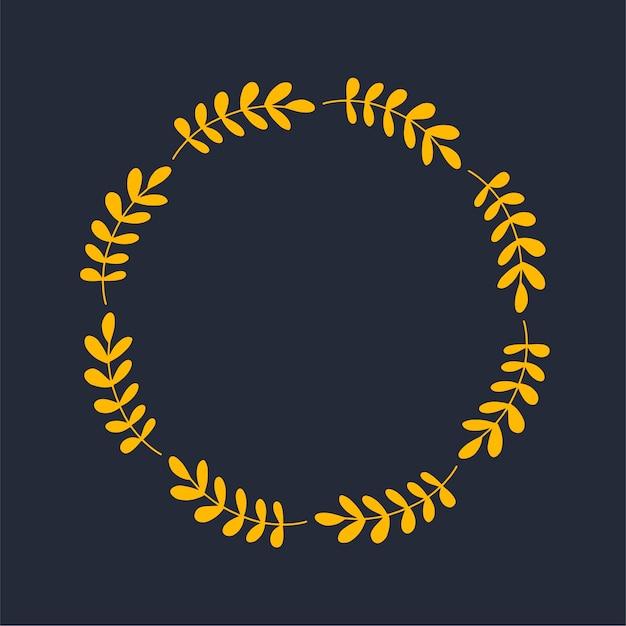 Couronne de vecteur de feuilles d'automne et de fruits dans un style aquarelle. belle couronne ronde de feuilles jaunes et rouges, glands, baies, cônes et branches. décor pour invitations, cartes de voeux, affiches.