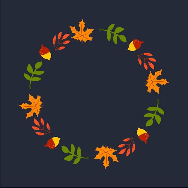 Couronne de vecteur de feuilles d'automne et de fruits dans un style aquarelle. belle couronne ronde de jaune