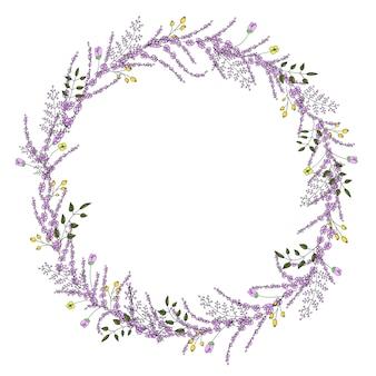 Couronne de vecteur avec des fleurs et des herbes de jardin